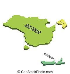 político, australia, isométrico, mapa