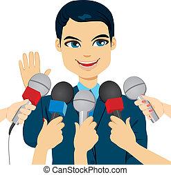 Político contestando preguntas de prensa