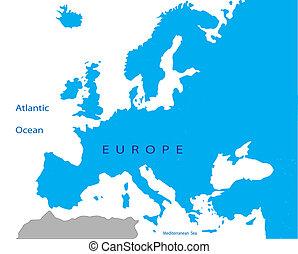 político, europa, mapa