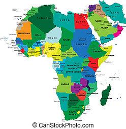 político, mapa, áfrica