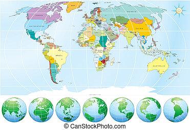 político, mapa, mundo