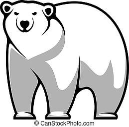 polar, caricatura, oso