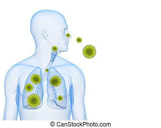 polen, alergia, ilustración