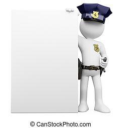 Policía 3D con un cartel en blanco