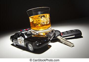 policía, alcohólico, llaves, coche, bebida, luego, patrulla, carretera