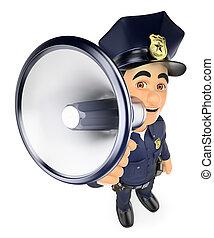 Policía de 3D hablando en un megáfono