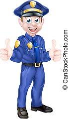 Policía de dibujos animados dando pulgares arriba
