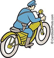 Policía de la patrulla de carreteras montando caricaturas de motos