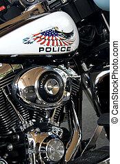policía, detalle, motocicleta