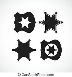 policía, divisa del sheriff, diseño, o