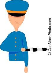 policía, ilustración, blanco, vector, fondo.