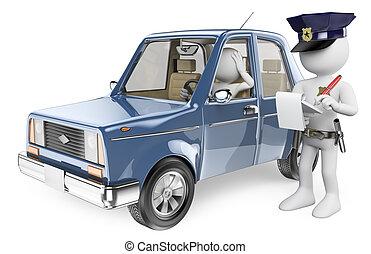 policía, imponente, personas., conductor, blanco, multa, 3d