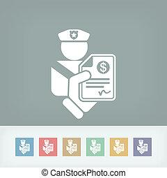 policía, multa, icono