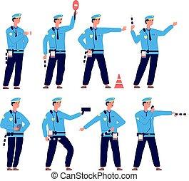 police., vehículo, control, tráfico, vector, conductor, seguridad, aislado, camino, patrulla, officer., seguridad, caracteres, controlador, estacionamiento