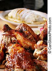 Pollo asado y burrito