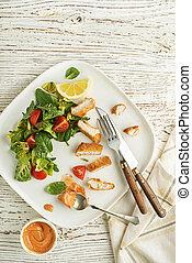 pollo, comida, ensalada
