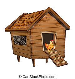 Pollo de dibujos animados y gallinas aisladas en el fondo blanco