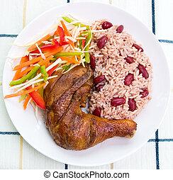 Pollo idiota con arroz, estilo caribbean