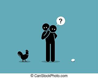 Pollo o huevo.