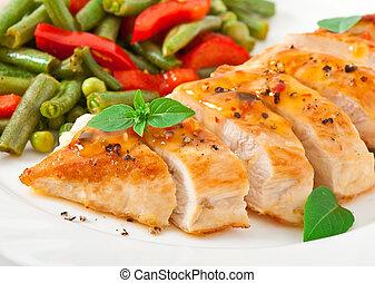 pollo, vegetales, pecho