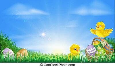 polluelos, huevos, pascua, amarillo, backg