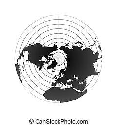 Polo Ártico hemisferio. Vista del mapa del mundo desde el espacio aislada en blanco