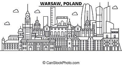 Polonia, la línea de arquitectura de Varsovia, ilustración en el horizonte. Vector lineal Cityscape con puntos de referencia famosos, vistas de la ciudad, iconos de diseño. Landscape wtih derrames editables