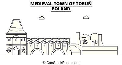 Polonia - Torun viaje famoso hito, panorama, vector. Polonia - ilustración lineal torun