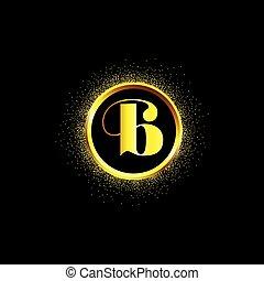 polvo, brillante, encendido, negro, chispear, señal, carta, decorativo, glorioso, design., anillo, logotipo, fondo., resplandor, icono, ring., dorado, gráfico, medio, vacío, brillante, center., b