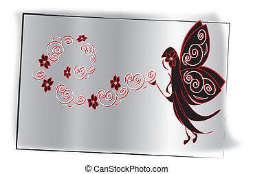 Polvo de hadas blanco en gris con rojo