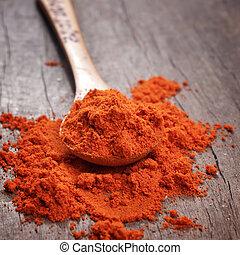 Polvo de paprika rojo en cuchara de madera