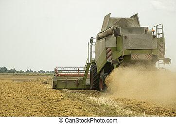 polvo, segador, field., combinar, heagy, maduro, machinery., trigo, agriculture., cosechar, agricultura, aire., agrícola, máquina, paja, dorado