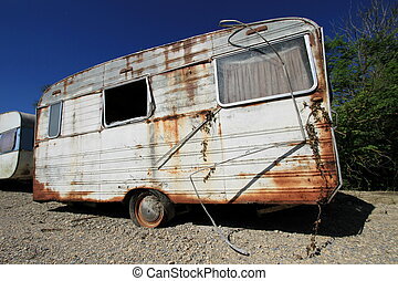 polvoriento, caravana, abandonned, viejo