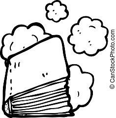 polvoriento, libro, viejo, caricatura