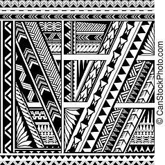 polynesian, estilo, étnico, tatuaje, manga