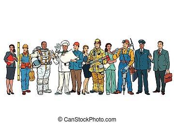 Pon a gente de diferentes profesiones en fila en White B