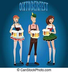 Pon a la gente en el Oktoberfest