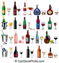 Pon el vino de botella y la copa en blanco