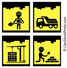 Pon iconos amarillos de construcción