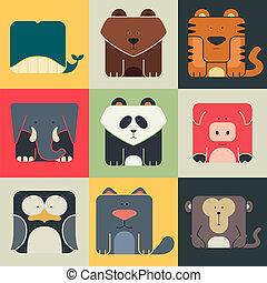 Pon iconos cuadrados planos de un lindo animal