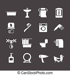 Pon iconos de baño y baño
