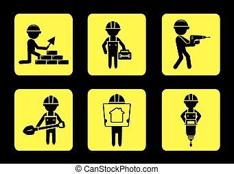 Pon iconos de construcción amarillos