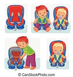 Pon iconos de niños pequeños en asientos de coche
