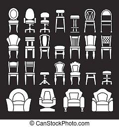 Pon iconos de sillas