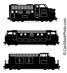 Pon iconos en el tren de la locomotora de trenes de color negro ilustración de vectores de silueta