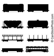 Pon iconos en el tren del tren del tren del tren del tren de tren en línea negra silueta ilustración vectorial