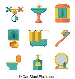 Pon iconos planos de baño y baño