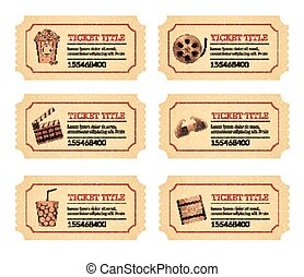 Pon las entradas para el cine. Viejas etiquetas de boletos antiguos con palomitas de maíz y bebida y otros iconos