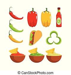 Pon salsa mexicana tradicional y pimienta chile