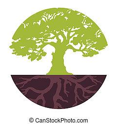 Pon un árbol ecológico. Vector